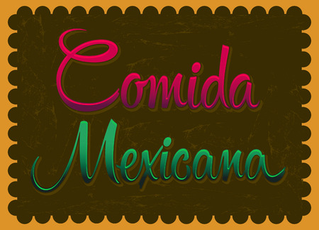 spanish food: Comida Mexicana - mexican food spanish text - Vintage Mexican Food Poster  Vector illustration  Illustration
