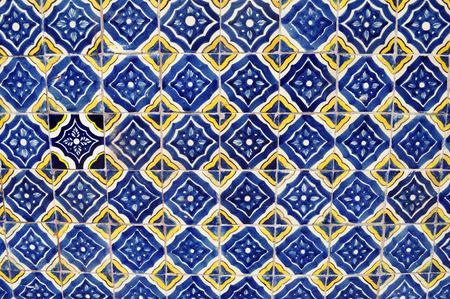 メキシコ陶器モザイクの壁 - タイル背景 - テクスチャ