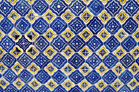 Mexican ceramic mosaic wall - tile background - texture Stok Fotoğraf