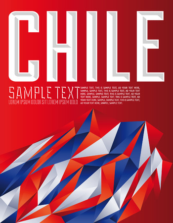 Chile - Vector geometric background - modern flag concept - Chilean colors 向量圖像