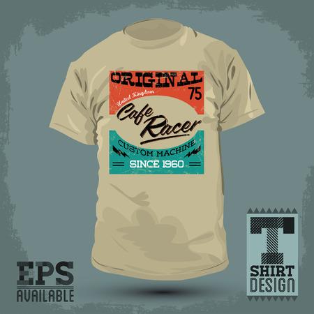 Graphic T- shirt design - Cafe Racer vector emblem - badge - t-shirt print Vector