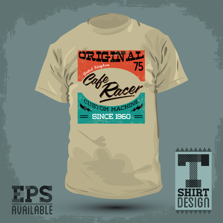 racing sign: Graphic T- shirt design - Cafe Racer vector emblem - badge - t-shirt print