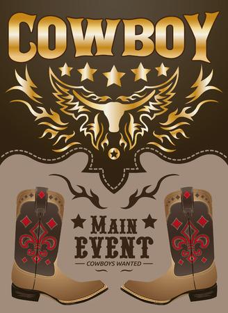 rodeo americano: Cowboy principal vector póster del evento - tarjeta - plantilla de la invitación Vectores