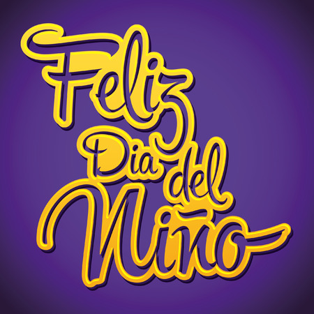 del: Feliz dia del nino - Happy children day text in Spanish - vector sticker