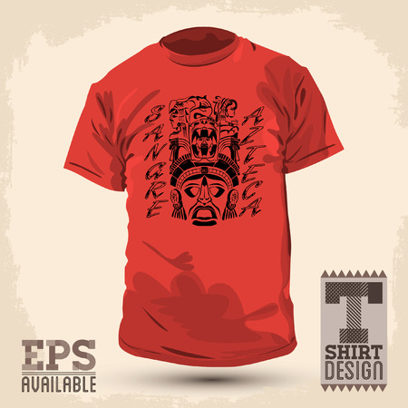 Graphic T- shirt design - Sangre Azteca - aztec blood - pride spanish text - Vector illustration - shirt print Vector