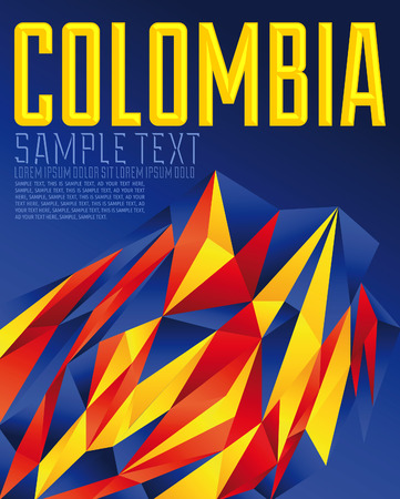 Colombia - Vector geometric background - modern flag concept - Colombian colors Vector