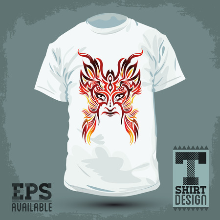 Graphic T-shirt design -Colorful Tribal mask - vector illustration  Vector