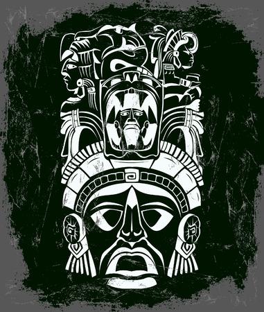 벡터 마스크, 멕시코 마야 - 아즈텍 모티프 - 기호