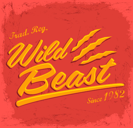 Wild Beast - vector lettering vintage badge -T Shirt design Vector
