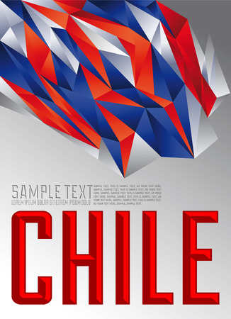chile flag: Chile - Vector geometric background - modern flag concept - Chilean colors Illustration