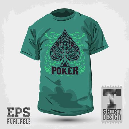 t shirt design: Graphic T- shirt design - Poker Spade emblem - silkscreen - Vector illustration