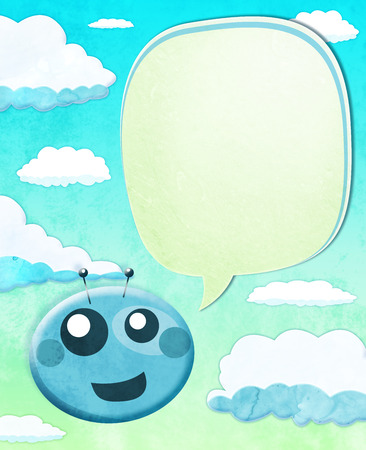 Cartoon Alien kid with balloon text over sky background photo