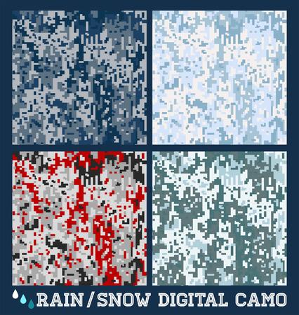 雪 - 雨 - シームレスなデジタル迷彩コレクション  イラスト・ベクター素材