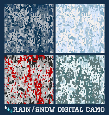 Snow - rain - Seamless digital Camouflage collection Vector