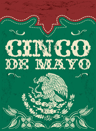 western town: Cinco de mayo - mexican holiday vector poster - card template - grunge effects can be easily removed
