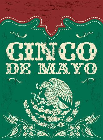 Cinco de Mayo - mexicaanse vakantie vector poster - card template - grunge effecten kunnen eenvoudig worden verwijderd