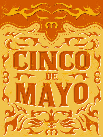 mayo: Cinco de mayo - mexican holiday vector poster - grunge effects can be easily removed