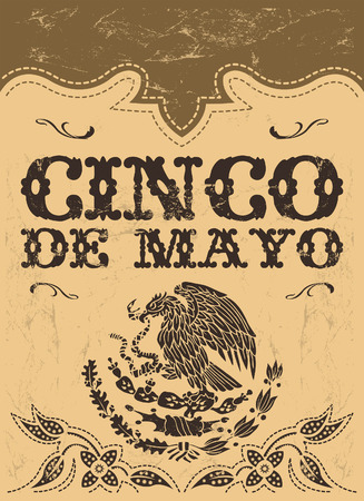mayo: Cinco de mayo - mexican holiday vector poster - card template - grunge effects can be easily removed