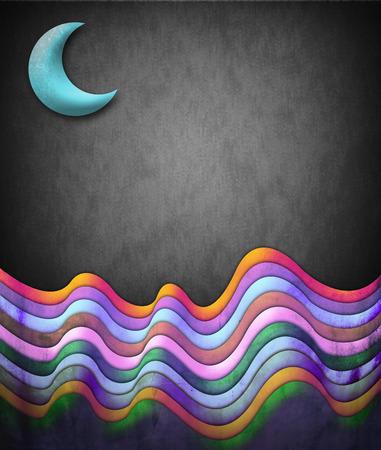 Kort vintage illustratie - scène met de maan en kleur golven - klaar voor uw tekst Stockfoto