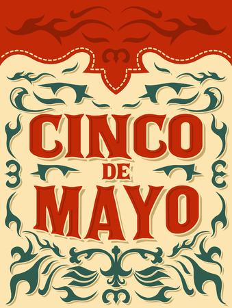 Cinco de Mayo - traditionele Mexicaanse vakantie - vector poster, sjabloon Stock Illustratie