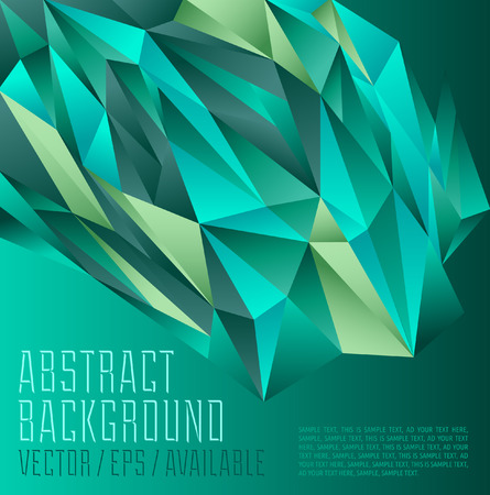 Green tones polygonal design   Abstract geometrical background Illustration
