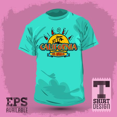 t shirt print: Graphic T- shirt design, California badge, emblem, Vector illustration Illustration