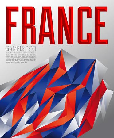 toulouse: France - Vector geometric background - modern flag concept - France flag colors