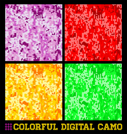 Colorful Seamless vector digital Camouflage collection Vector
