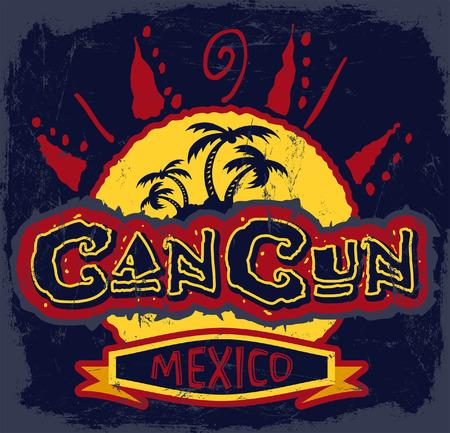 cancun: Cancun Mexico - vintage vector badge - emblem - shirt print