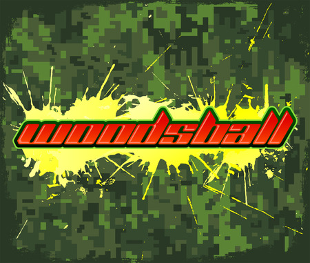 Woodsball - is een vorm van paintball gaming, pictogram, kleurrijke banner Stock Illustratie