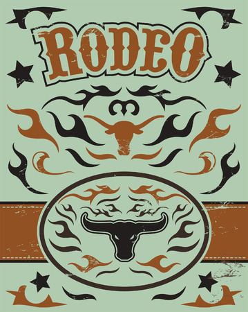 t shirt print: Vintage Rodeo poster - longhorn skull -belt buckle - Text and grunge effect are removable Illustration