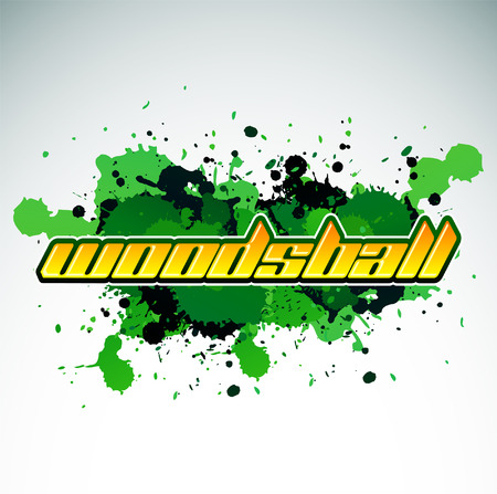 Woodsball - is a format of paintball gaming, icon, colorful banner Ilustração