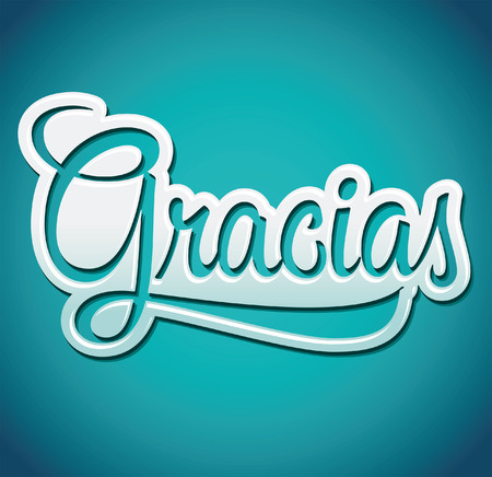 Gracias - Thank you spanish text - lettering - vector icon  イラスト・ベクター素材