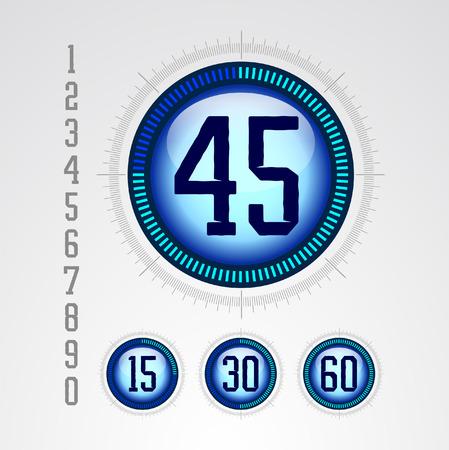 digital: Modern blue digital timer  Illustration