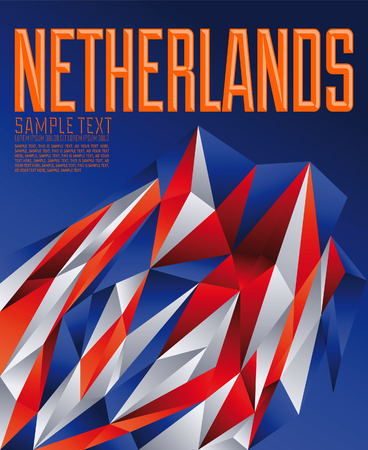 the netherlands: Netherlands geometric background - modern flag concept - Netherlands colors Illustration