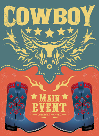 Cowboy main event poster - invitation template Vector