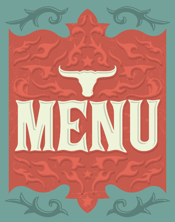 Vintage grill - steak - restaurant menu design - western style Vector