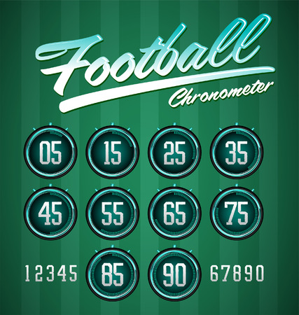 chronometer: Football - Soccer Modern Green digital timer - stopwatch, to track the time in a football game