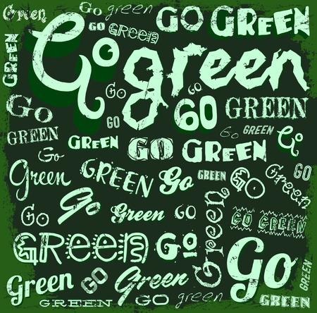 Go Green - Eco Word background - pattern vector  Vector