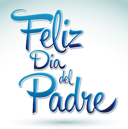 feliz dia de padre spanish text happy fathers day vector