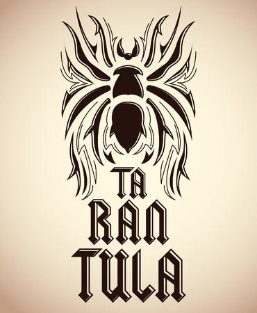 tarantula: Tarantula tattoo design - spider illustration - vector