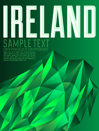 irish cities: Ireland - Vector geometric background - modern flag concept - Irish colors