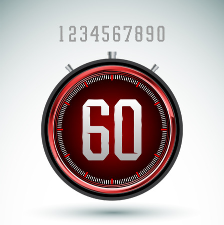digital timer: Modern red digital timer - stopwatch vector Illustration