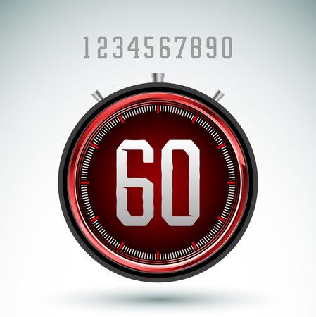 Modern red digital timer - stopwatch vector Иллюстрация