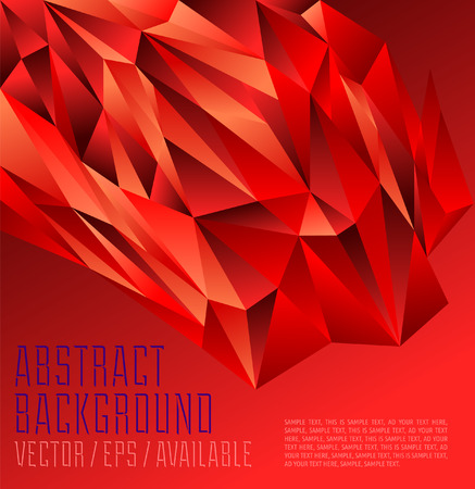 Intense Red polygonal design   Abstract geometrical background Vector
