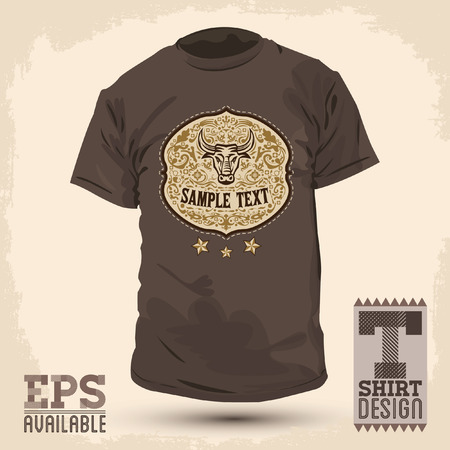 Graphic T- shirt design - Rodeo badge - Vector illustration - shirt print Vector