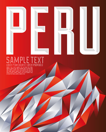 Peru - Vector geometric background - modern flag concept - Peruvian colors  イラスト・ベクター素材