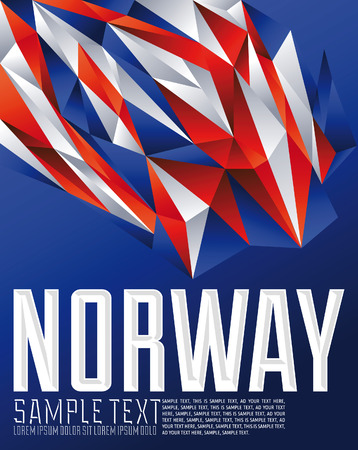Norway - Vector geometric background - modern flag concept - Norway colors Çizim