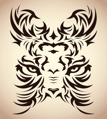 Abstract tribal tiger vector - tattoo - eyes Vector