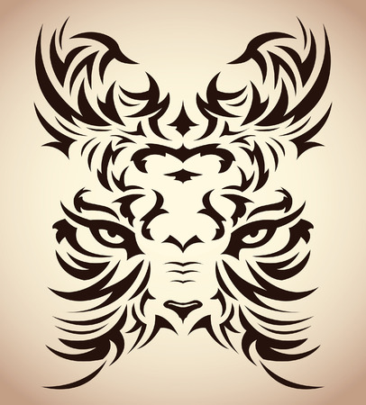 color tribal tattoo: Abstract tribal tiger vector - tattoo - eyes Illustration